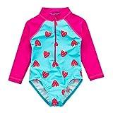 Wishere - Costume da bagno intero per bambina, motivo: rash guard Cuore 3 Mesi