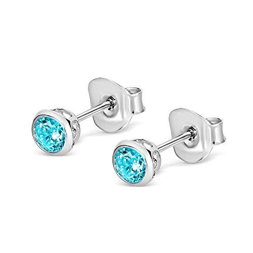 Isabella Silver LONDON Designer Jewellery 925 Sterling Silver 4mm CZ Martini-Style Bezel-Set Stud Earrings