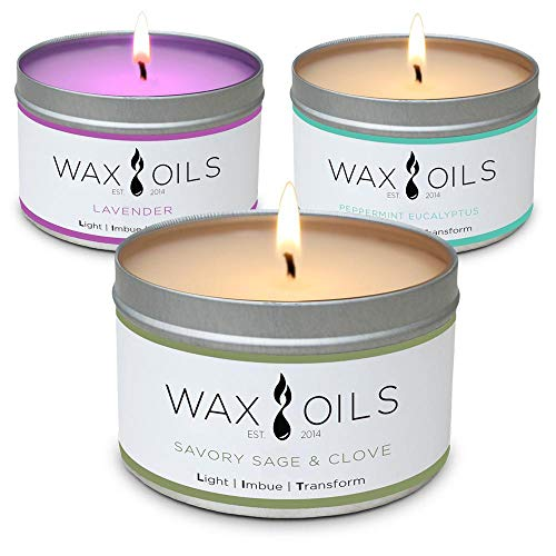 Scented Candles - Lavender, Sandalwood & Peppermint Eucalyptus (Pack of 3) Soy Aromatherapy Candles, 8oz