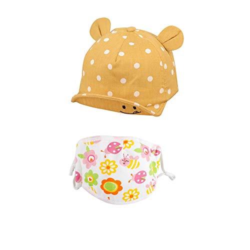 Fossen Kids Sombrero de Sol para Bebe Niños Niña + Máscara Lindo Punto de Onda Cara Sonriente Orejas Aleros Suaves Sombrero de Lengua de Pato de BéIsbol (C)