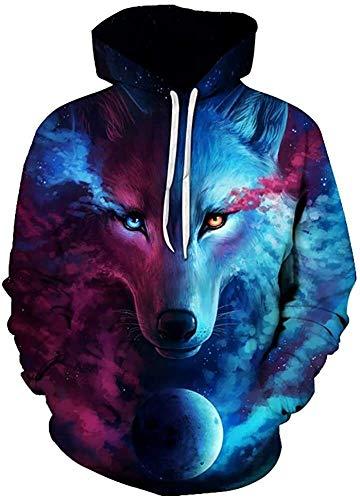 Kapuzenpullover Unisex Hoodie HD Animal 3D Print Mit Kapuze Sweatshirt Männer Frauen Mode Lässige Pullover Hoodies mit großen Taschen (Color : Wolf, Size : S)