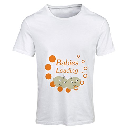 lepni.me Camiseta Mujer ¡Los bebés están Cargando! - Tops de Maternidad Lindos, Ropa Divertida de Embarazo (XX-Large Blanco