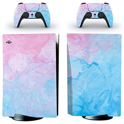 Watercolor Swirl PS5 Skin   Cute Pastel Vinyl Cover Wrap Sticker Full Set Console Controller   Compatible with Sony Playstation 5 (PS5 Standard, Pink Blue)