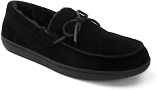 Vionic Men's Irving Adler Slipper with Durable Rubber Sole - Faux Shearling Moccasins with Concealed Orthotic Arch Support