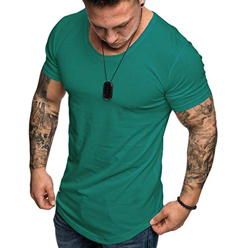 Camisetas Hombre Manga Corta SHOBDW 2019 Blusas Color Sólido Cómodo Tallas Grandes Tops Verano Camisetas Hombre Basicas Cuello Redondo Venta de liquidación M-3XL(Verde 4,M)