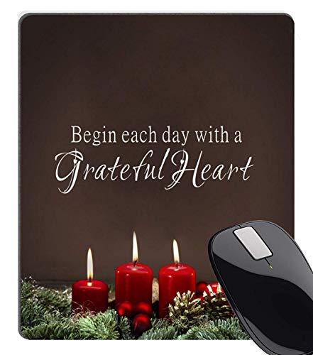 Begin elke dag met een dankbaar hart citaten branden kaars muismat