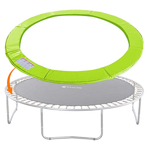 Exacme Trampoline Replacement Safety Pad Round Spring Cover, No Slots (Light Green, 12 Foot)
