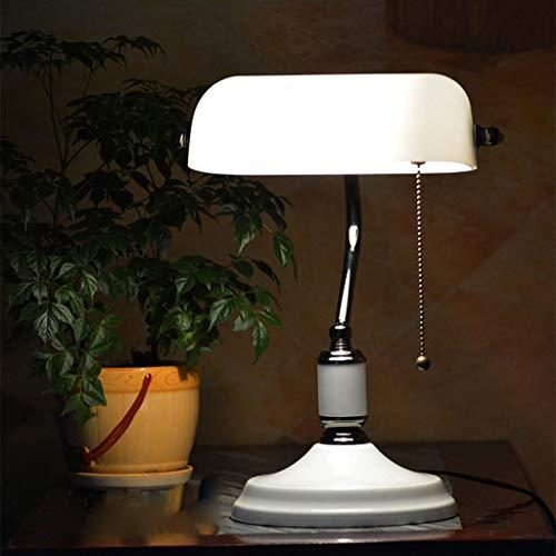 Lfixhssf traditionele bureaulamp Banker Ombra leeslamp glas met wit ijzeren touw E27 lichtlicht Lfixhssf