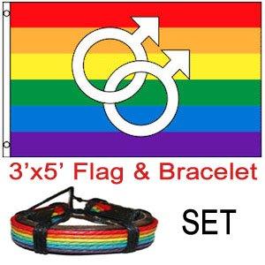 Double Male Symbol - Rainbow Gay Pride Flag - LGBT Flag 3x5 w/ Leather Rainbow Bracelet