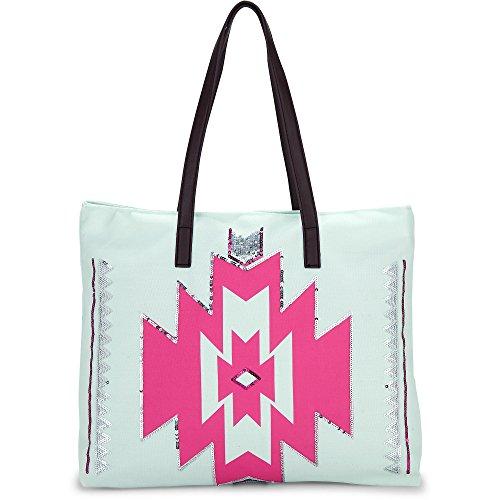 Cox Damen Canvas-Shopper aus Textil, Schulter-Tasche in coolem Mint mit pinkem Aufdruck und Pailletten (48 x 44 x 15 cm) Türkis Textil 1