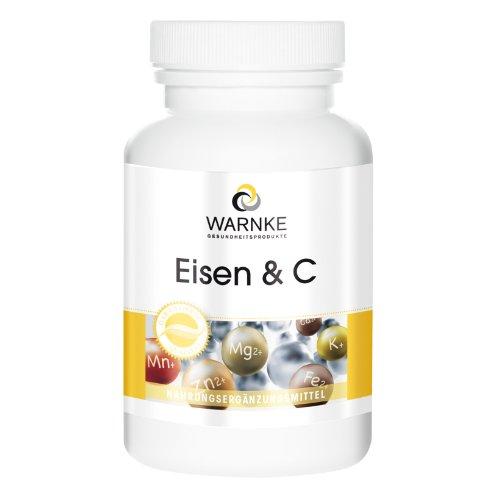 Hierro + Vitamina C, Con B12 y Biotina – 14mg de Hierro elemental – Con Vitamina C para una mejor absorción del hierro – 250 cápsulas
