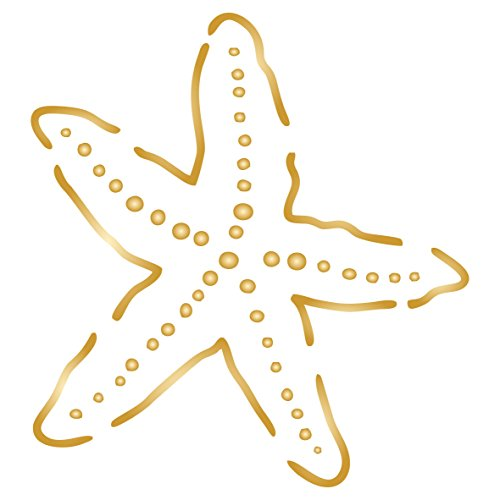 Starfish Stencil, 3 x 3.25 inch (S) - Sea Ocean Nautical Seashore Reef Fish Stencils for Painting Template