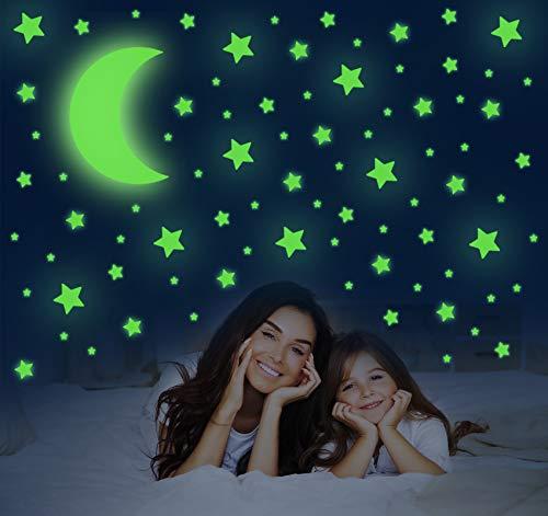 Selbstklebend Leuchtsticker Wandtattoo, 581 PCS Leuchtsterne Wandsticker Fluoreszierende Mondaufklebe für Kinderzimmer, Leuchtpunkte Sternenhimmel Dekoration