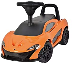 Hardwearing plastic construction. Officially licensed McLaren product. Streamlined chassis and realistic headlights. 2 buttons to play fun songs and realistic sound effects. Removable push-along handle on back. Wide wheels. Foot operated acceleration...