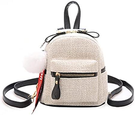 Women popular cute girl backpack fashion ladies travel package casual convenient purse classic Popular elegant mini small bag (Beige)