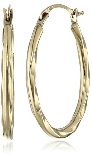 Amazon Collection14 K oro oval Twist Aro arete