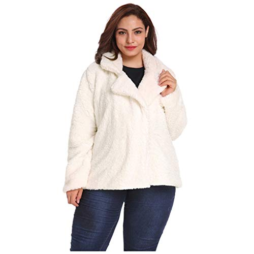 WINLISTING Frauen Winter Casual Plus Size Solid Color Outwear Revers Plüsch Jacke Mantel