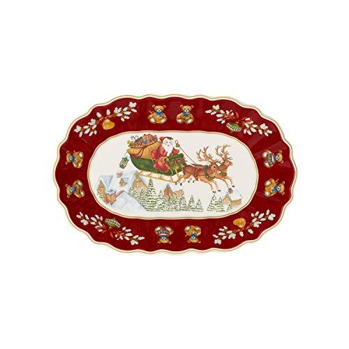 Villeroy & Boch Toy's Fantasy Schale oval groß, Schlitten, Schale für Plätzchen, Premium Porzellan, rot, bunt, 29 x 19 x 5,5 cm