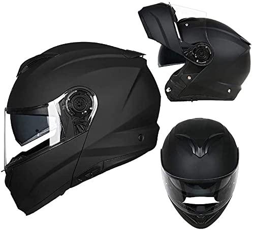 LLDKA Casco Plegable, Casco Modular, máscara Anti-Niebla con Dos Lentes, Compatible con Auriculares Bluetooth Casco de Carreras Plegable (Color : B, Size : M)
