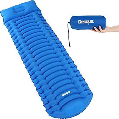 Desque Ergonomic Inflatable Camping Sleeping Pad - Comfortable Mat with Built-in Foot Pump, Ultralight with Pillow, Lightweight Compact Air Mattress, Best Insulated Hiking Sleeping Mat for Backpacking