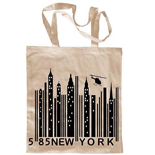 My Custom Style Shopper in Cotone Naturale di Colore Beige Modello New York Barcode Manici Lunghi da 80cm; Formato Borsa 38x42cm. Prodotto di qualità, Stampa Diretta di Tipo Digitale.
