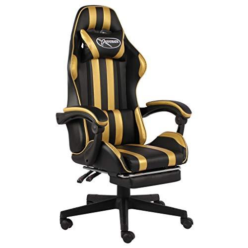 vidaXL Gaming Stuhl mit Fußstütze Höhenverstellbar Schreibtischstuhl Bürostuhl Chefsessel Drehstuhl Racing Sportsitz Schwarz Golden Kunstleder