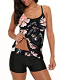Century Star Tankini Swimsuits for Women Retro Bathing Suits Two Pieces Modest Swimming Wear Sports Tank Tops with Boyshorts Pink Flower XL (fits US 8-10)