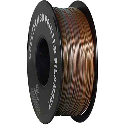 GEEETECH Filamento PLA 1,75 mm Multicolore, bobina stampante 3D Filamento PLA 1KG, bronzo Silk arcobaleno