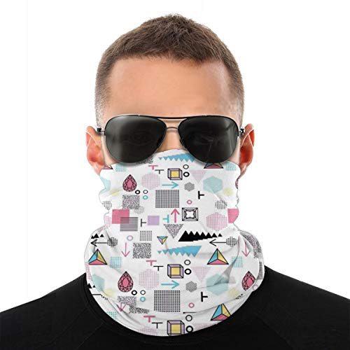 FaceCover,NeckGaiter,Bandana,Geometric Composition In Memphis Style Cubes Hexagons Triangles And Arrows Modern,Suitable for sports travel for man and woman