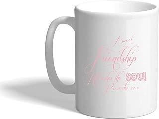 Soft Pink Sweet Friendship Refresh The Soul Ceramic Coffee Cup White Mug