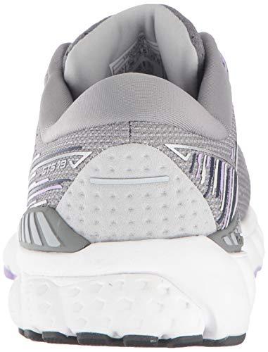 Brooks Womens Adrenaline GTS 19 Running Shoe - Grey/Lavender/Navy - B - 9.5 5