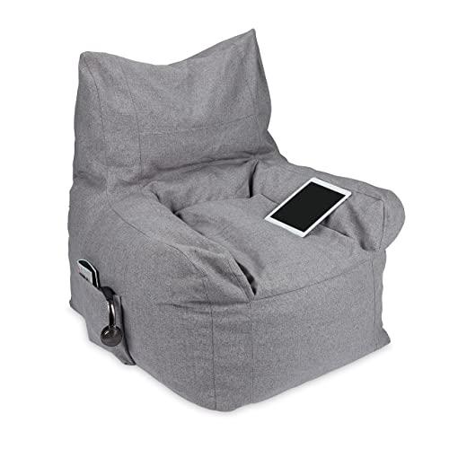 Relaxdays Sitzsack mit Lehne, Riesensitzkissen Indoor, mit Griff, Liegesack Schaumstoff, HxBxT: 98 x 100 x 88 cm, grau