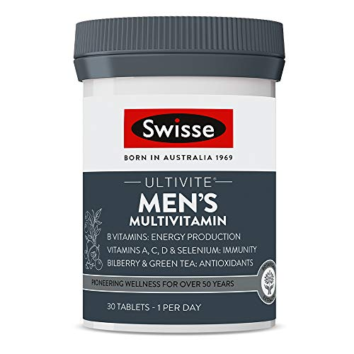 Swisse Ultivite Men's Daily Multivitamin Tablet Energy and Immunity Support Rich in Vitamins Minerals and Botanical Extracts Tablets, 30 count