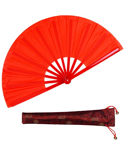 Dance Folding Hand Fan-Red Large Chinese Kung Fu Tai Chi Plastic-Nylon Hand Held Folding Fans for Men/Women with a Fabric Case for Protection 13inch (Hand Fan red)