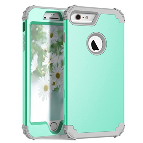 AWINNING iPhone 6 Plus iPhone 6s Plus Case Heavy Duty Shockproof Armor Defender 3in 1 Hybrid Hard PC & Soft Silicone Full Body Protective Phone Case for iPhone 6/6s Plus 5.5 inch – Mint Green