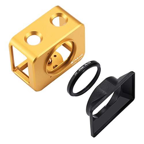 Ychaoya Voor Sony RX0 Aluminium Beschermende Kooi + 37mm UV Filter Lens + Lens Zonnescherm met Schroeven en Schroevendraaier (Zwart), Goud