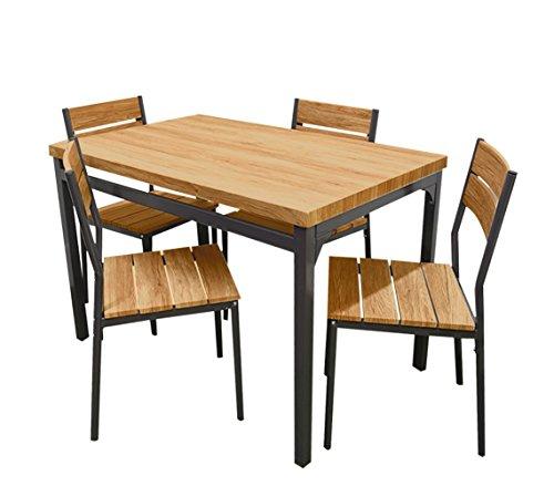 Mediawave Store 433850 tuintafel met 4 stoelen van metaal en hout, donker eiken, 110 x 70 x 75 cm