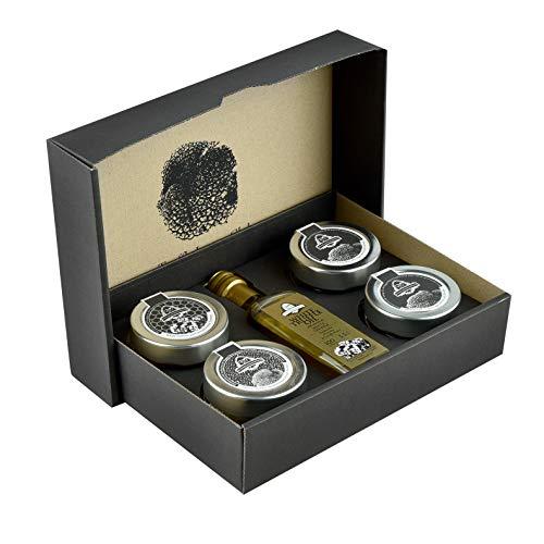 Selección de condimentos de trufa por InterGourmandise – miel de trufa, sal de trufa, trufa picada, carpaccio de trufa y aceite de trufa blanca – en una caja de regalo de presentación