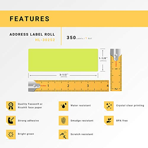 """HOUSELABELS Compatible DYMO 30252 Green Address Labels (1-1/8"""" x 3-1/2"""") Compatible with Rollo, DYMO LW Printers, 1 Roll / 350 Labels per Roll Photo #7"""