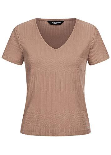 Zabaione Damen Top V-Neck T-Shirt Struktur Stoff Shirt braun, Gr:S