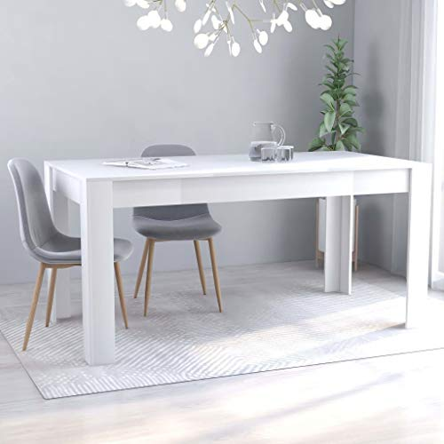 vidaXL Mesa de Comedor Muebles de Salón Cocina Sala de Estar Hogar Robusto Estable Duradera Moderna de Aglomerado Blanco 160x80x76 cm