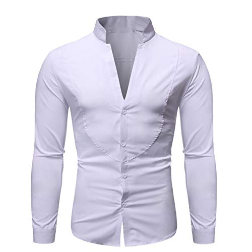N\P Camisa de hombre con cuello en V para hombre de manga larga lisa camisa de hombre con cuello alto