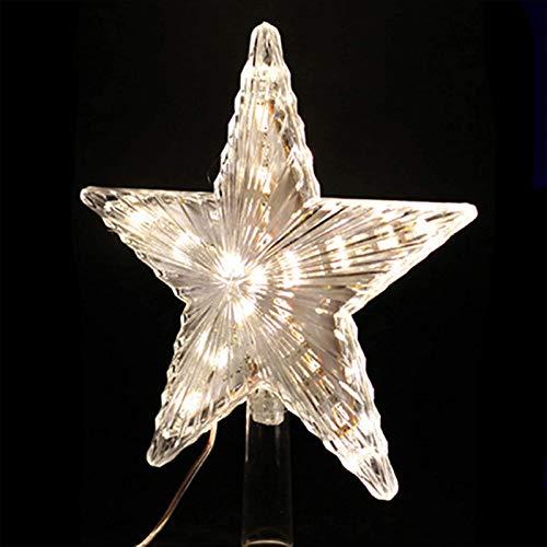 AIJOAIM Weihnachtsbaum Stern LED Beleuchtet Weihnachtsbaumspitze Weihnachtsbeleuchtung Christbaumspitze Baumspitze Baumschmuck für Xmas Deko,Warm White