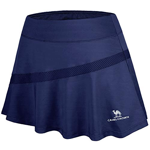 CAMELSPORTS Women Casual Active Sport Skirt Tennis Golf Skorts Pleated for Athletic Running Workout with Built-in Shorts Navy M