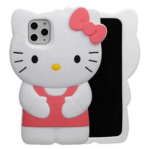 Phenix Color Hello Kitty Schutzhülle für iPhone 11 15,7 cm (6,1 Zoll) 2019, Cartoon-3D-Design, weiches Silikon-Gummi, Gel-Schutzhülle, animiert für Kinder & Mädchen, iPhone 11 Pro Max 6.5
