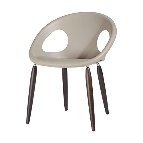 Chaises Natural Drop – scab design structure en bois wengé et coque Color Taupe [Lot de 2]
