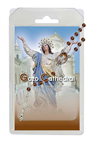 Rosario de la Virgen María de la catedral de Goz, de semicristal marrón con oración en inglés