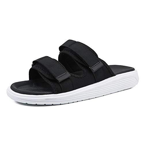 B/H Easy Close Hombre Zapatos,Zapatillas de Verano Ajustables, Sandalias con corrección de Velcro-Blanco y Negro_40,Edema Ancho y cómodo Zapatos