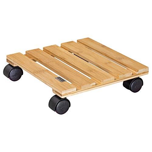 WAGNER Pflanzenroller Bamboo 29 x 29 x 7 cm I Pflanzenroller für den Innenbereich, Bambusholz hell I Kübelroller aus Bambus I Tragkraft 100 kg - 20026501