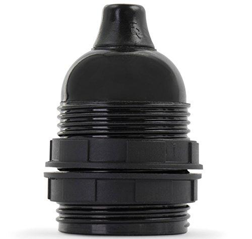 Retro Lampenfassung aus Bakelit, Fassung E27 Gewindemantel schwarz mit Klemmnippel